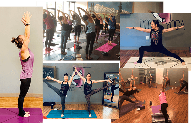 a collection of images of women practicing yoga together in a Christ filled environment